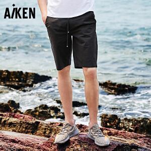森马旗下Aiken爱肯2018夏新款男生弹力运动修身黑色青年个性学生休闲短裤