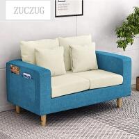 ZUCZUG简约布艺沙发组合家具小户型单人沙发椅多功能简易客厅双人沙发 湖蓝色