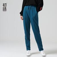初�Z休�e�女��松春季新款直筒抽�K松�o腰�^�\�有l衣�L�