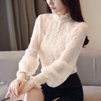 小衫女长袖2018春秋装新款韩版百搭蕾丝打底衫遮肚子雪纺上衣