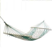 户外单人网状绳吊床 加固棉线带木棍木棒 双人秋千网