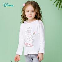 迪士尼Disney童装圆领女童长袖t恤春秋新款宝宝肩开扣纯棉休闲上衣191S1118