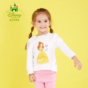 迪士尼Disney童装女童长袖T恤纯棉上衣春秋装新款宝宝衣服173S954
