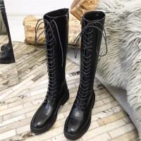 欧美时尚绑带厚底平底鞋中跟高筒靴马丁长靴骑士机车米白色女靴子SN9535