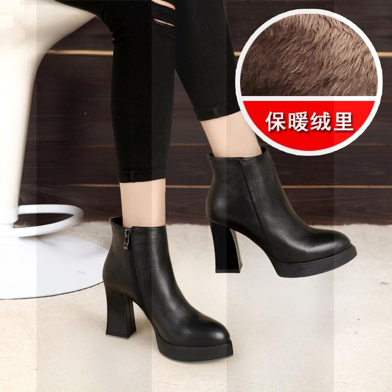 欧洲站短靴女靴子春秋冬季真皮及踝靴高跟防水台尖头粗跟欧美厚底SN2493