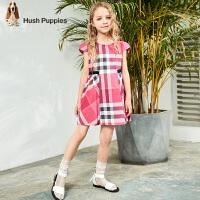【3件3折:131元】暇步士童装女童连衣裙2020夏装新款儿童短袖裙子格子中大童半袖裙