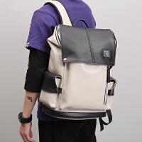 欧洲站时尚潮流书包韩版商务电脑包大容量男士真皮双肩包旅行背包
