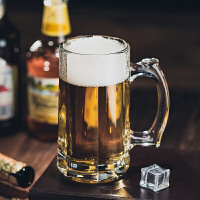 大容量啤酒杯带把玻璃杯家用水杯套装加厚带把手耐热泡茶杯扎啤杯kb6