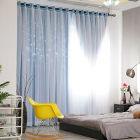 韩式双层蕾丝遮光镂空星星窗帘公主粉色窗帘卧室客厅窗帘成品 蓝色 【布纱一体】双层 宽4.0x高2.7 一片【打孔】可改