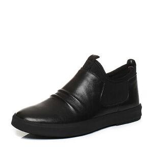 Teenmix/天美意2017冬黑色牛皮/弹力布个性褶皱舒适男休闲鞋BMT02DD7