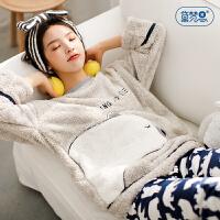 萌熊宝冬季珊瑚绒女士睡衣可爱少女韩版宽松家居服可外穿保暖套装2733
