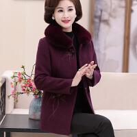 中老年女装秋冬毛呢外套中年妈妈冬装中长大码加厚羊绒大衣女