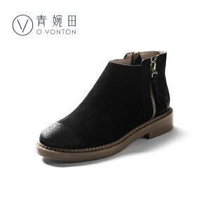 青婉田真皮英伦马丁靴女学院风复古短靴女2018新款春冬平底女靴子短筒靴