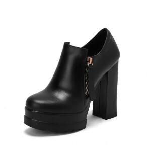 WARORWAR法国新品YG09-534冬季欧美反绒粗跟高跟女士靴子切尔西靴短靴
