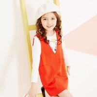 【2件2.5到手价:37.5】美特斯邦威女童裙子简约纯色公主针织连衣裙童装