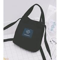 文艺帆布包女单肩斜跨包日韩休闲手提包迷你手机包袋女布包 黑色