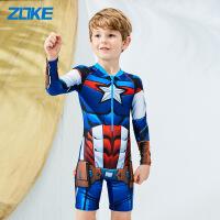 新品儿童泳衣男童卡通美国队长人长袖泳装中大童连体平角裤游泳衣