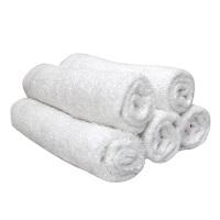 家用洗脸柔软竹纤维毛巾口水巾洗澡擦汗小手巾小方巾 白色 (5条装) 25x25cm