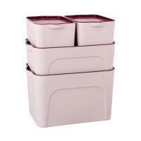 塑料收纳箱衣物储物箱衣柜桌面大小号收纳盒零食玩具床底整理箱子 四件套(两小一中一大)