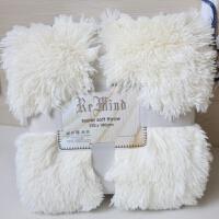 白色长毛绒毯子沙发毛毯宝宝拍照背景毯仿皮草飘窗装饰毯床尾搭毯
