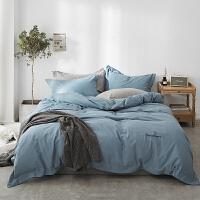 磨毛四件套全棉纯棉秋冬季加厚床单被套双人纯色简约1.8m床上用品