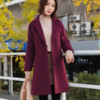 2018冬装新款呢子大衣女韩版加厚中长款优雅显瘦毛呢外套