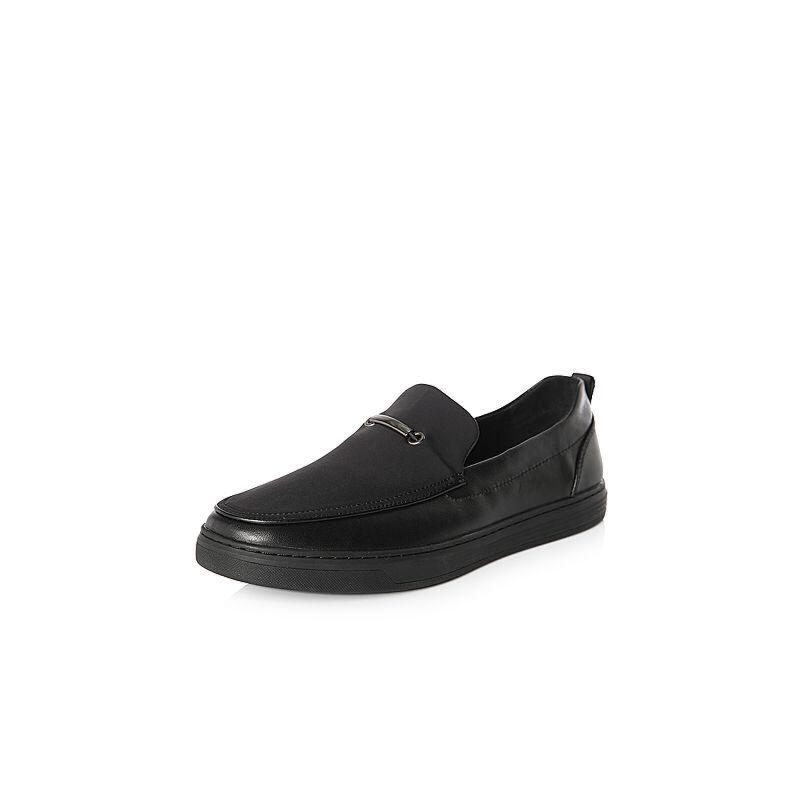 Belle/百丽2018春季新品专柜同款牛皮革/弹力布男休闲鞋5PP02AM8