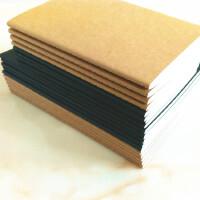16k简约车线本复古笔记本牛皮纸b5大号本子空白黑卡封面线装本A5