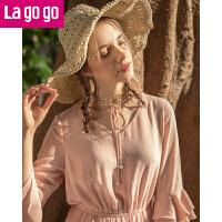 Lagogo2019春季新款时尚V领系带荷叶袖连衣裙女松紧腰百褶中长裙