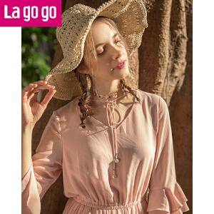 【秒杀价119.7】Lagogo2019春季新款时尚V领系带荷叶袖连衣裙女松紧腰百褶中长裙