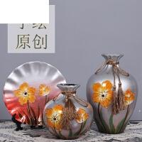 客厅酒柜美式摆件电视柜创意礼品欧式陶瓷干花花瓶家居装饰品插花