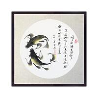 中式装饰画客厅餐厅玄关装饰画沙发墙画背景墙挂画油画年年有余鱼