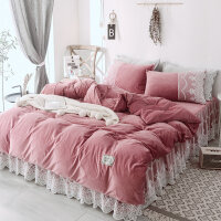 蕾丝公主风床上四件套女加厚保暖珊瑚绒床单被套法兰绒双面绒床裙