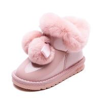 №【2019新款】冬天小朋友穿的儿童雪地靴2018新款女童靴子防水短靴加绒兔毛棉靴