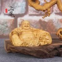 家居饰品摆件木雕钱袋布袋和尚弥勒佛工艺品