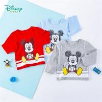 【99元3件】迪士尼Disney童装男童长袖T恤纯棉米奇卡通印花上衣春季新品宝宝圆领衣服