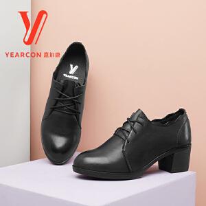 意尔康女鞋2017新款单鞋牛皮系带潮流中粗跟女士皮鞋