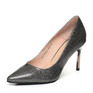 Tata/他她深灰漆牛皮优雅尖头高跟婚鞋浅口女鞋FBOQAAQ8