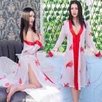 诱惑性感睡衣睡裙雪纺女透明浴袍内衣套装日系和服式侧高开叉睡袍