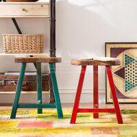 奇居良品 中式新古典实木家具 酒吧餐厅休闲椅 诺纳斯梅花凳