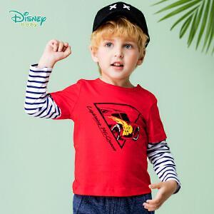 迪士尼Disney童装 小孩衣服秋装新品纯棉小汽车条纹拼接上衣宝宝长袖t恤183S1058
