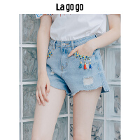 【5折价108】Lagogo/拉谷谷2018年夏季新款时尚绑带流苏牛仔短裤女HANN135Y62