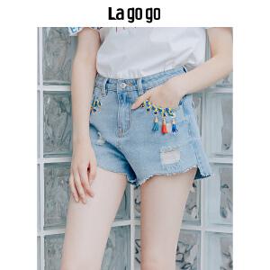【清仓3折价89.7】Lagogo/拉谷谷2019年夏季新款时尚绑带流苏牛仔短裤女HANN135Y62