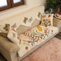 0725194624125四季通用防滑飘窗垫沙发罩沙发套田园沙发巾美式乡村布艺沙发垫