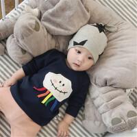 婴儿秋季新款衣服男女宝宝0-3岁新生儿纯棉外出幼儿T恤上衣潮