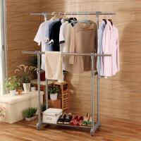 【缺货下架】ORZ 可升降双杠晾衣架落地室内 创意阳台晒衣架移动凉衣杆