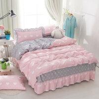 纯棉床罩床裙式四件套床上床单被套卡通可爱床套带1.8m款1.5