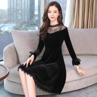 2019春季新款蕾丝拼接金丝绒时尚修身经典 百搭 黑色显瘦连衣裙女 黑色