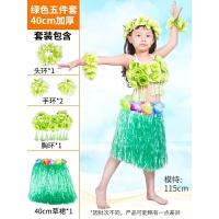 六一节幼儿园海草舞服装舞蹈裙子夏威夷草裙舞演出服儿童女表演服 绿色40加厚 五件套