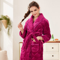 女士冬季加厚保暖法兰绒睡袍三层加厚夹棉睡袍浴袍保暖睡衣居家服